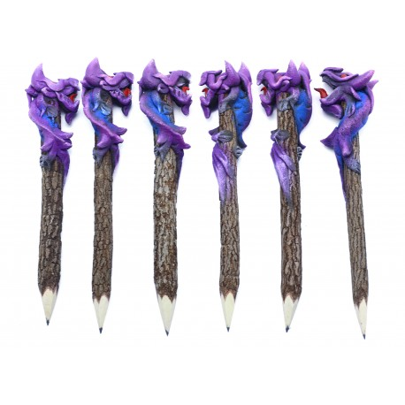 Dragon Purple with Blue Personalized Pencils (set of 6)