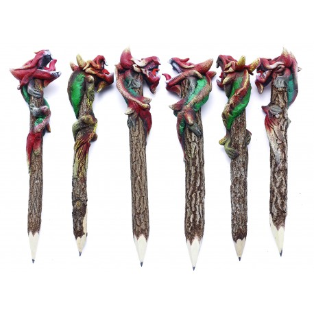 Dragon Red - Green Personalized Pencils (set of 6)