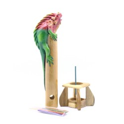 Bamboo Incense Iguana Holder Red With a Green Body