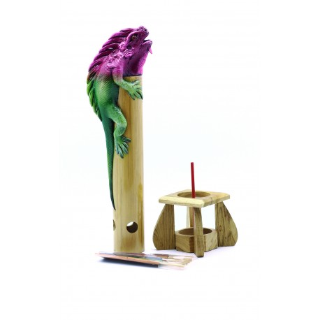 Bamboo Incense Iguana Holder Purple with a Green Body