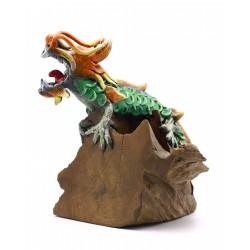 Green Vintage Teak Chinese Dragon