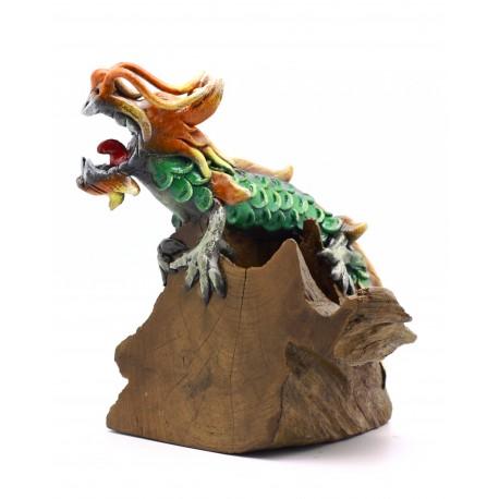 Teak Thundering Dragon Statuette