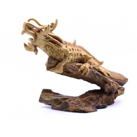 Teak Single Dragon Statuette - 1 - 19 Inch