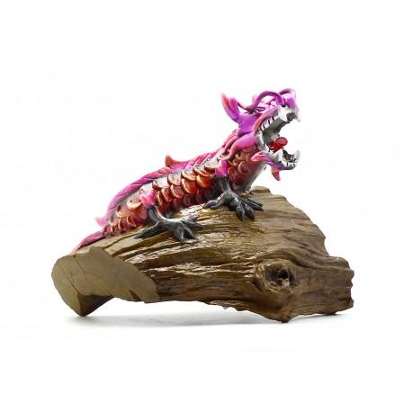 East Asian Vintage Red Thai Teak Dragon