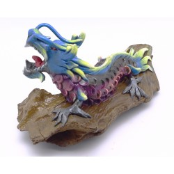 Daylight Blue Fantasy Teak Wood Art Dragon