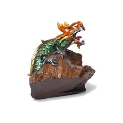 Jade Green Dragon Teak Wood Sculpture
