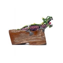 Deep Purple Teak Wood Dragon Statuette
