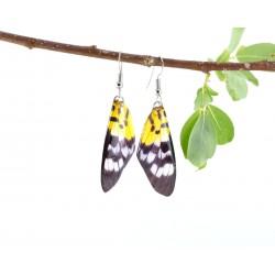 Yellow Black Spotted Butterfly Wing Earrings