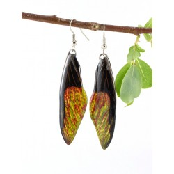 Black Yellow Dragonfly wing Earrings