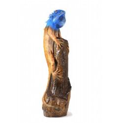 Sky Blue Iguana Perched on Teak