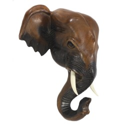 16 '' Elephant Head Carved Wall Hanging