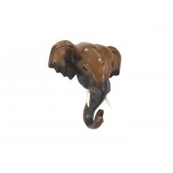 10 Inch Wooden Elephant Head Wall Sculpture
