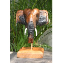 6 Inch Wooden Elephant Head Sculpture Stand or Wall Hanging