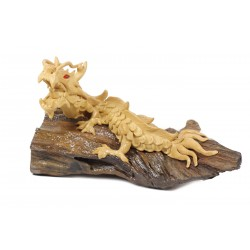 Natural Crawling Teak Dragon Sculpture