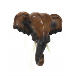 10 Inch Elephant Head Carved Wall Hanging
