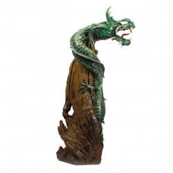 One Meter Teak Root Green Gold Dragon Sculpture