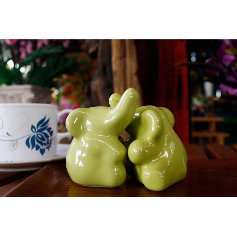 Elephants Hugging Green Salt And Pepper Shakers