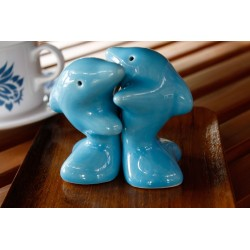 Dolphins Hugging Blue Salt and Pepper Shakers