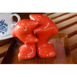 Dolphins Hugging Red Salt and Pepper Shakers