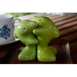 Dolphins Hugging Green Salt and Pepper Shakers