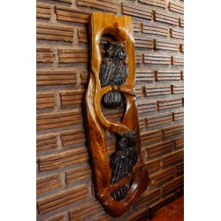 Teak Wall Hanging - Owls Hanging Around